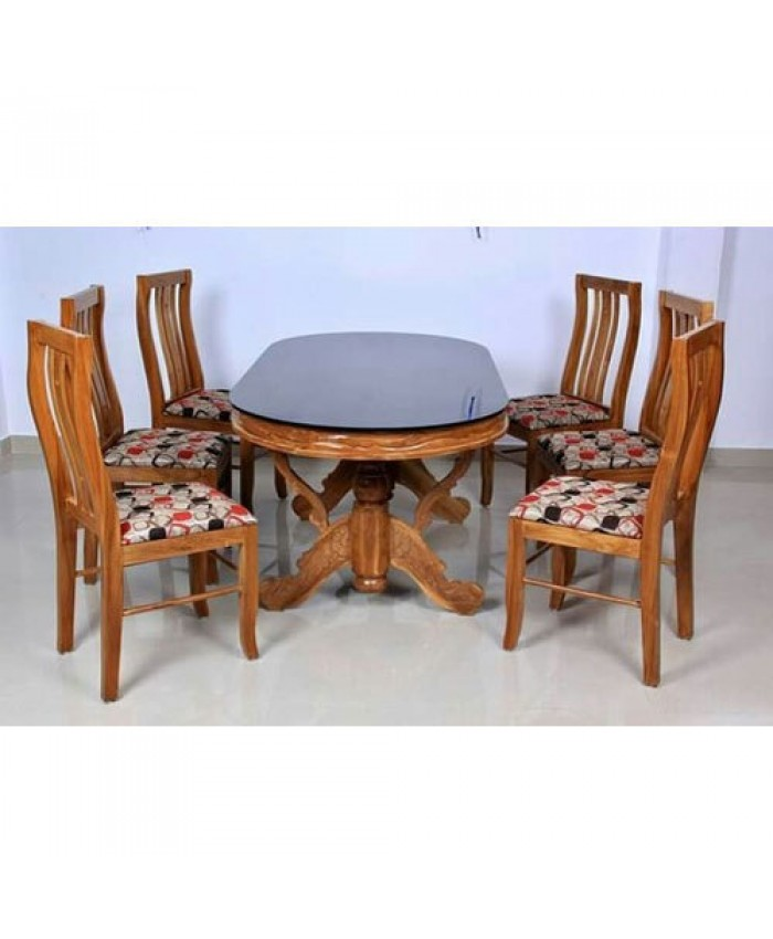 Oval Dining Table 6x3 With 6 Dining Chairs