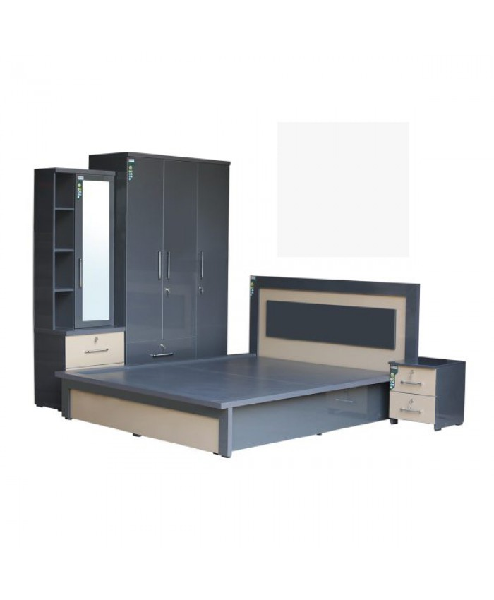 Deluxe Bedroom Set Gray & White Color