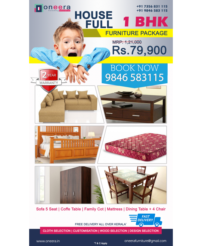 1 BHK full home furniture package BEST PRICE. Booking Available