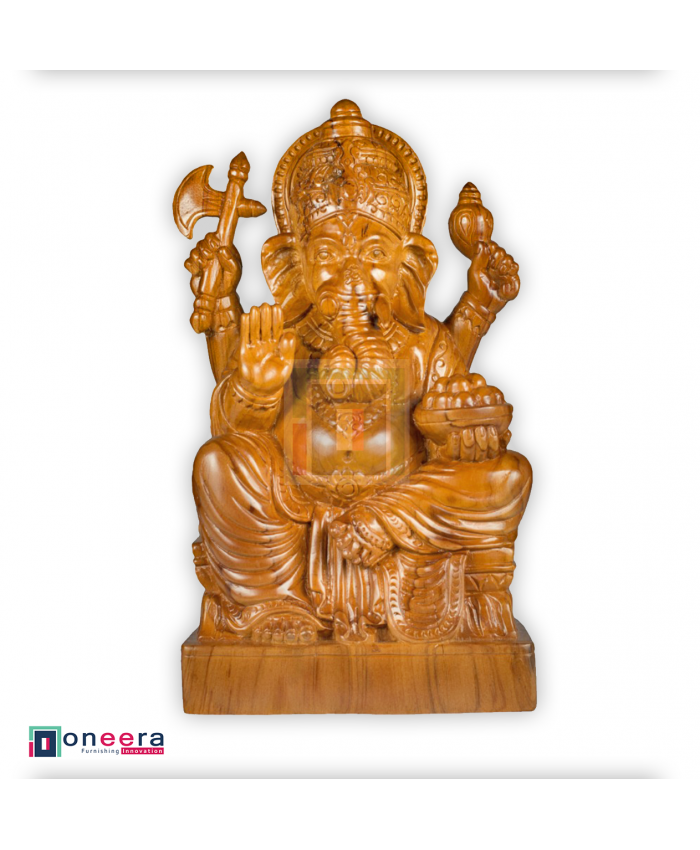 Hand Carved Lord Ganesha Sculpture. Indonesian Teak Wood