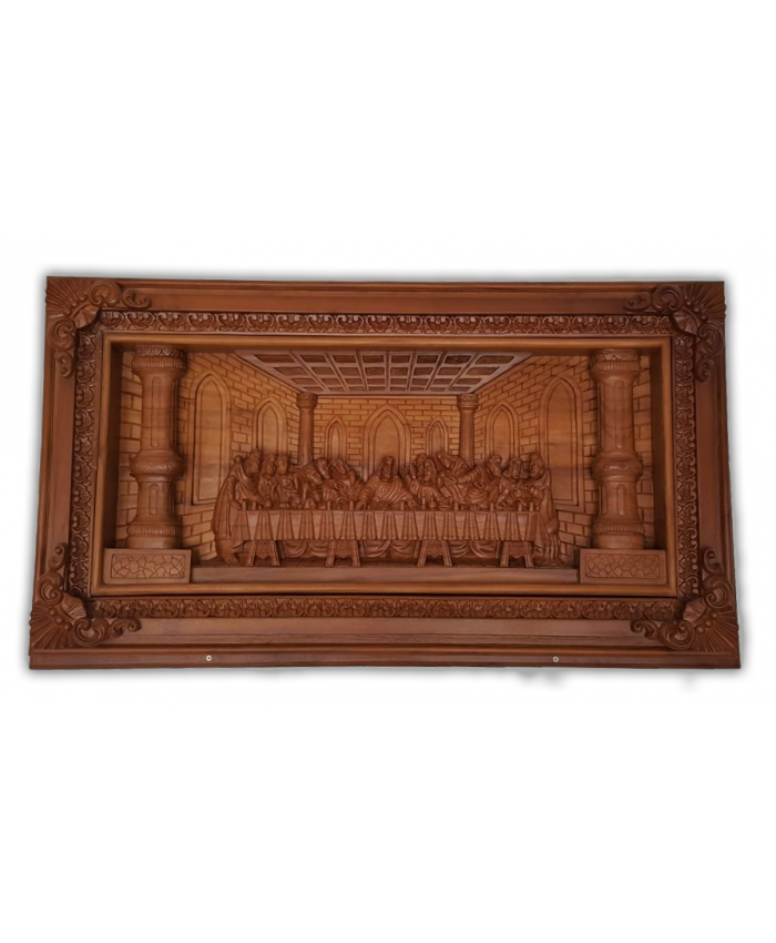 Jesus Last Supper wood carved (Indonasian Teak Wood)